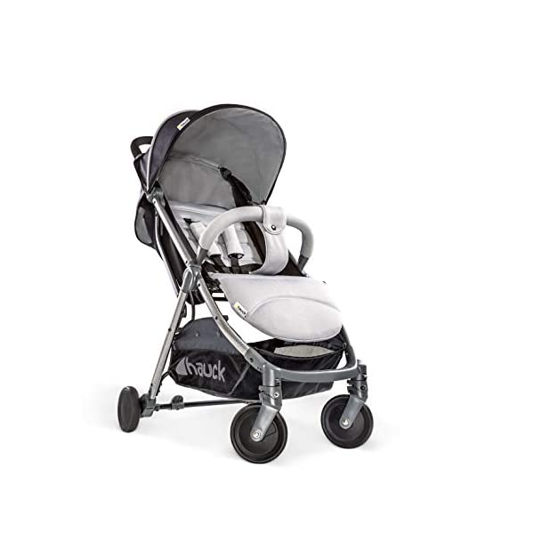 Hauck Swift Plus, Compact Pushchair with Lying Position, Extra Small Folding, One Hand Fold, Lightweight, Carrying Strap, from Birth Up To 15 kg, Silver/Charcoal Hauck EASY FOLDING - This pushchair is as easy to fold away as possible - the comfort stroller can be folded with one hand only within seconds, leaving one hand always free for your little ray of sunshine LIGHTWEIGHT - This pushchair can not only be folded away very compactly, but also easily transported by its carrying strap thanks to its light weight and aluminium frame COMFORTABLE - Backrest and footrest are multi-adjustable, the hood extendable. In addition, the pushchair comes with suspension, swiveling front wheels, soft padding, and large shopping basket 9