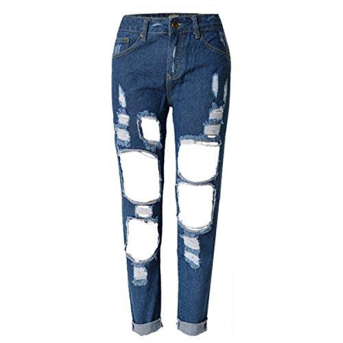 Donna Moda Slim Stretch Denim Pantaloni Strappato / Personalità Jeans Irregolare Fori Pantaloni Dritti Taglia Large C3