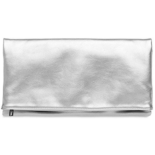 CASPAR TA392 elegante Damen Briefumschlag Envelope Clutch Tasche Abendtasche, Farbe:silber;Größe:One Size (Handtaschen Tasche Silber)