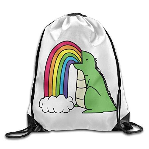 Naiyin Unisex Dinosaur Puke Rainbows Print Drawstring Backpack Rucksack Shoulder Bags Gym Bag Sport Bag