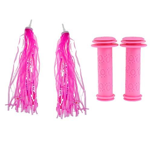 perfeclan Lenkerfransen Pink Glitzer + Fahrradgriffe Kinderfahrrad Lenkergriff Dekoration