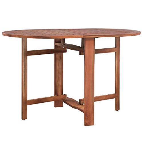 Festnight- Table de Jardin Pliable Ovale Table de Salle à Manger Table d'Extérieur en Bois Marron Style Naturel 120 x 70 x 74 cm (L x l x H)
