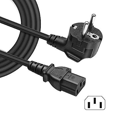 BERLS Câble d'alimentation PC TV, Cordon Électrique Secteur pour Samsung LE32A457C1D LCD TV EU Schuko CEE7 Prise Angulaire vers IEC 320 C13 | 10 A 250v (Européen - Noir) 1.5m de BERLS