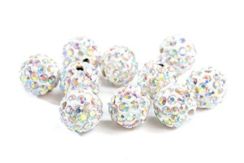 ILOVEDIY 10 Stk. Beads Perlen Glitzer Disko Kugel Bead Kristallkugel Armband basteln