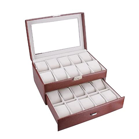 Rowling 20slots Faux Leather Watch Display Case Box Jewelry Bead Storage Box 020