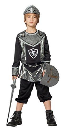 Karneval Klamotten Ritter-Kostüm Kinder Kinderkostüm Kreuz-Ritter schwarz-silber Mittelalter-Kostüm Karneval Größe (Kinder Kostüme Ritter Drache)