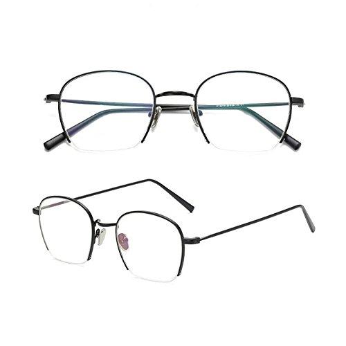 Z&HA Teenage Girl Student Glasses Frame Non-Prescription Optical Lenses Flat Mirror Half Frames Gold-Rimmed Eyeglass Transparent Clear Trends Ultralight Eyewear