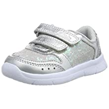 Clarks Girls' Ath Sonar T Low-Top Sneakers, Silver (Silver Leather Silver Leather), 9 UK