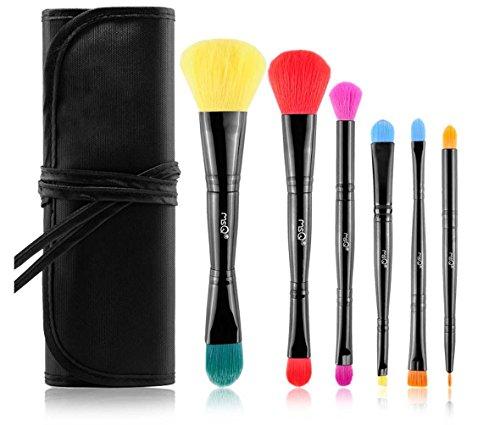 e-up Schlampen Farbige Double Head Brush Head tragbar Fiber Hair Make-Up Set Bürste Beauty Makeup Creative Gifts ()