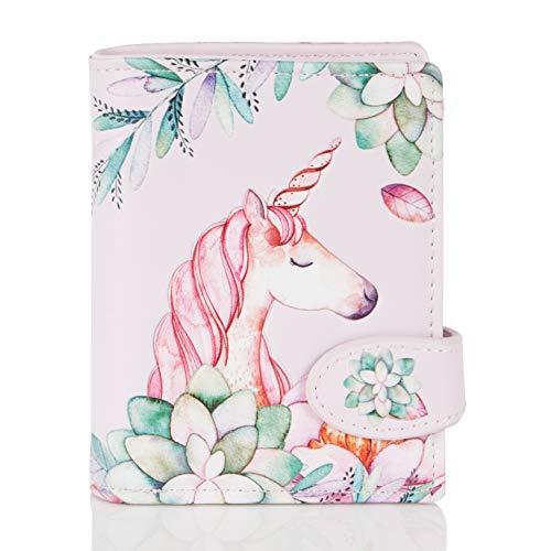 Shagwear Portemonnaie Geldbörse für Junge Damen - Mädchen Geldbeutel portmonaise Designs: (Einhorn/Unicorn Pink)