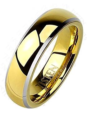 Paula & Fritz® Ring Tisten Titan Wolfram gold 6mm breit Ring mit Kuppel und abgeschrägtem Rand verfügbare Ringgröße...