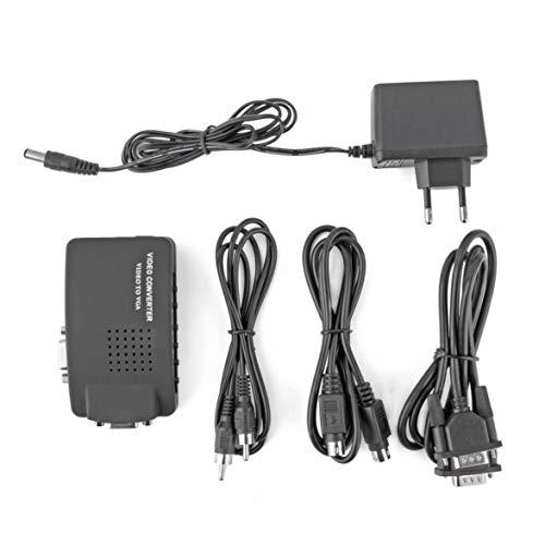 Kongqiabona PC Laptop Composite AV/S Video zu VGA TV Konverter Monitor Adapter Switch Box LCD Konverter Konverter Schalter Box Schwarz Lcd-composite-video