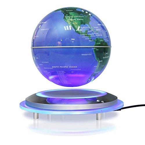 Globo magnético de la levitación, bola flotante de 6 '' que gira la bola antigravedad LED iluminó la tierra del mapa del mundo para la decoración del hogar de la oficina de escritorio (6' 'azul)