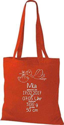 Shirtstown Stoffbeutel ein tolles Geschenk zur Geburt mit deinen persönlichen Initilien Storch Rot