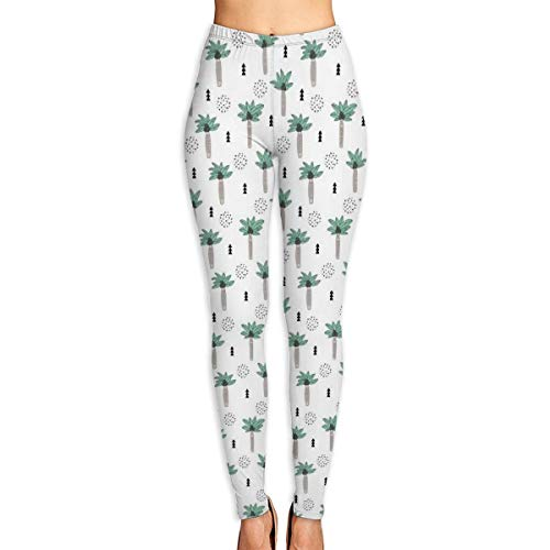 Women's High Waist Yoga Pants Cool Summer Geometric Palm Tree Tropical Holiday Gender Neutral Black And White Beige Green Extra Soft Non See-Through Workout Leggings Red Velvet Holiday-outfit