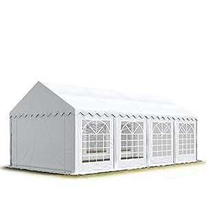 Tente Barnum de Réception 3x8 m ECONOMY Bâches Amovibles PVC 500 g/m² blanc / Jardin Tonnelle Pavillon Chapiteau