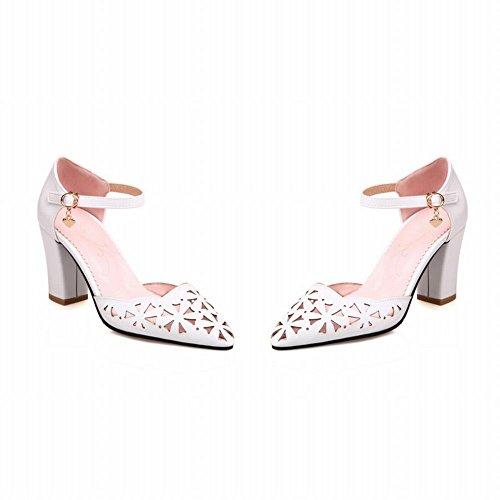 Mee Shoes Damen chunky heels ankle strap Knöchelrimchen Pumps Weiß