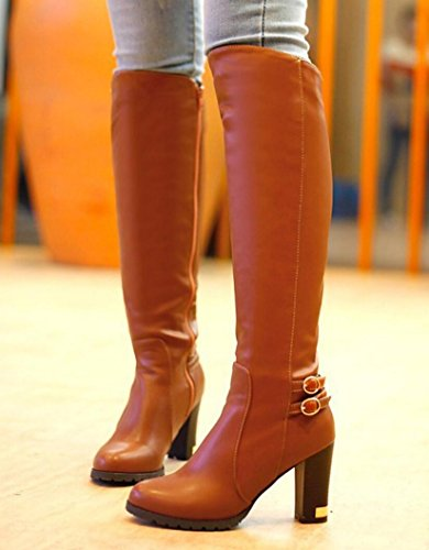 CYGG Stivali al ginocchio da donna con tacco alto Stovepipe Style Plus Boots in velluto di grandi dimensioni 40.41.42.43 brown