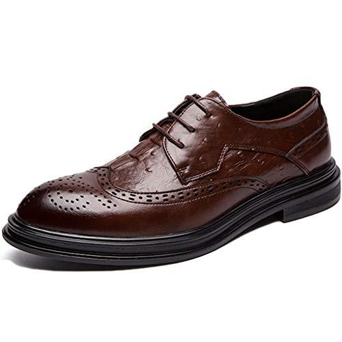 Liabb Herren Lederschuhe Büroarbeit Smart Dress Formelle Schuhe Business Dress Schnürschuhe Für Casual,Brown,38