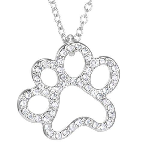 Halskette - Pfote - Katze - Hund - Tiere - Mann - Frau - Unisex - Silberfarbe - Geschenkidee (Cosplay Für Hunde)