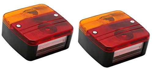 Hillfield® Universal Rücklichter, Rückleuchten für KFZ Anhänger , komplett mit Glühlampen (2 Rücklichter) - Kfz-anhänger