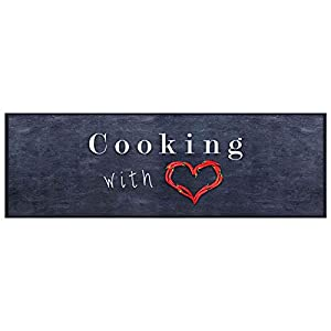 HOMEFACTO:RI Küchenläufer Küchenteppich Teppichläufer Cooking with Love | waschbar, Größe:ca. 45 x 145 cm