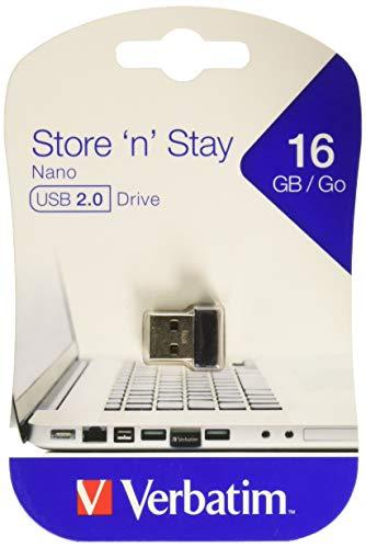 Verbatim Store 'n' Stay NANO USB Drive - 16 GB, kleiner USB-Stick mit USB 2.0 Schnittstelle, superflaches Design, schwarz, 97464