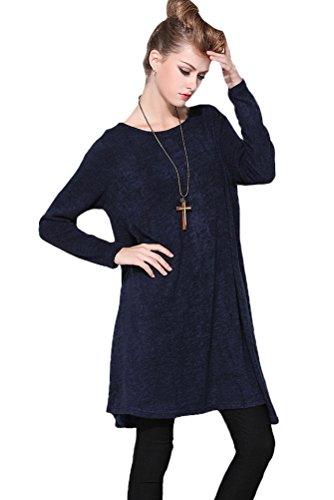 MatchLife Femmes Nouveau Look Elegant Manches Longues Echarpe A Rat Le Court Bleu