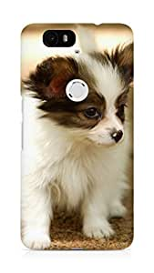 Amez designer printed 3d premium high quality back case cover for Huawei Nexus 6P (Cute Lovely Puppy Walking Dog Animal)