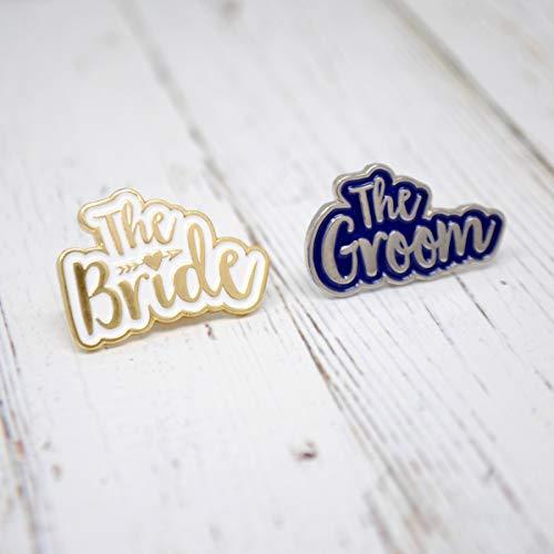The Bride & The Groom Pin Badges - Braut Bräutigam Set Hochzeit Hen Do Gastgeschenke Pin Badge