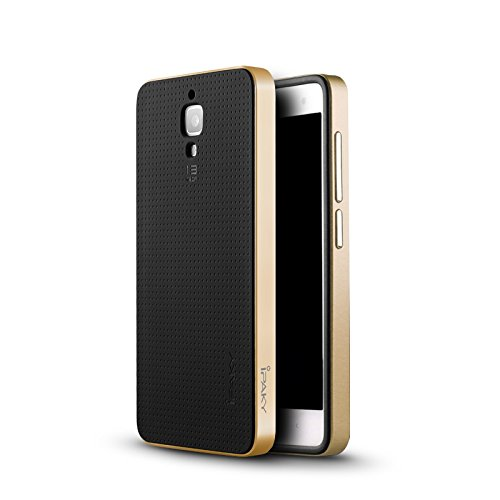 Original iPaky Brand Luxury High Quality Ultra-Thin Dotted Silicon Black Back + PC Gold Frame Bumper Back Case Cover For Xiaomi mi 4 - Black Golden