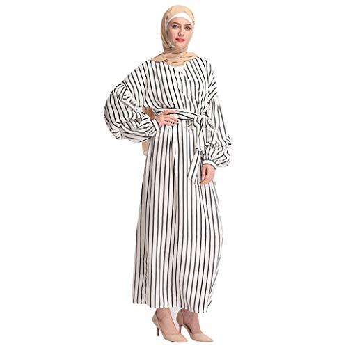 Mitlfuny Indian Muslim Islamic Arab Abaya Jilbab Middle Eastern Ramadan,Muslimische Frauen bescheidene Maxi-Kleid Abaya Türkei Streifen Lange Robe Kaftan - Frauen Türkei Kostüm