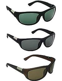 Dervin UV Protection Sports Biker Sunglasses for Men and Women (Green, Black, Brown) - Combo of 3