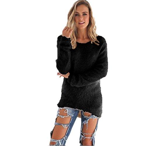 Amlaiworld Sweatshirts Winter bunt plüsch locker pullis Damen komfortabel Sport Sweatshirt warm flauschig Lang Pullover (Schwarz, M)