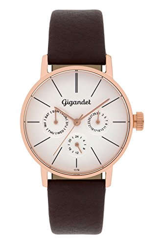 Gigandet Minimalism Women's Analogue Wrist Watch Quartz Multifunction Rose Gold Brown G38-004
