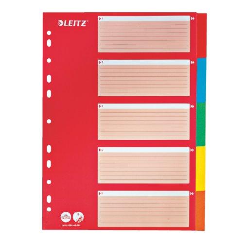 Leitz Kartonregister Blanko, A4, Karton, 5 Blatt, Blisterverpackung, farbig
