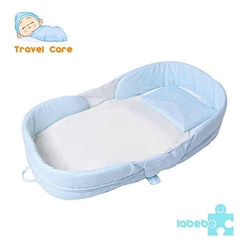 Labebe Baby 2 in 1 FOLD & GO Foldable Travel Bed/Bassinet Convertible to Diaper Changing MAT for Infants up to 1 Year, Washable Cover, Space Saving and Ideal Birthday Gift – Sky Blue Grid