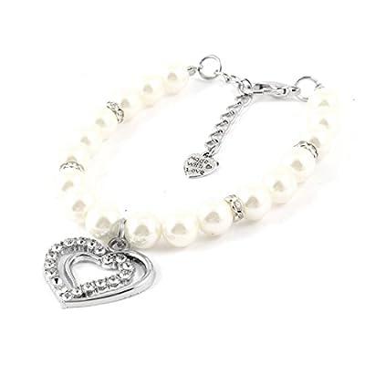 SODIAL(R) Heart Pendant White Faux Pearl Decor Pet Dog Puppy Collar Necklace S