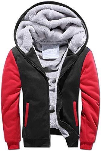VSUSN Herren Hoodie mit Reißverschluss Fleece Innenseite Kapuzenpullover Winter Warm Hoodie Pullover mit Kapuze Verdickte Kapuzenjacke Sweatjacke Winterjacke (Schwarz/Rot, L)