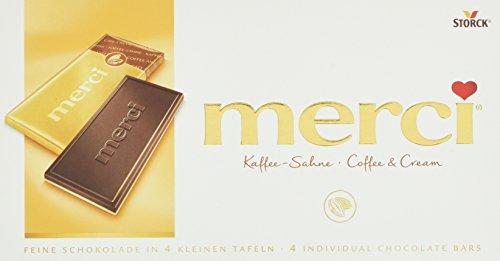 merci Tafelschokolade Kaffee-Sahne – die perfekte Selbstverwöhnung – 4 kleine, feine Täfelchen – 15er Pack (15 x 100 g)