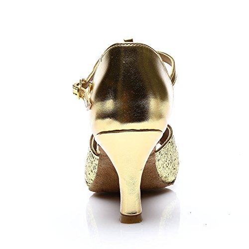 HROYL Damen Tanzschuhe/Latin Dance Schuhe Satin Ballsaal Modell-D7-216 Gold 40 EU - 3