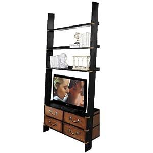ProPassione Design Étagère style échelle, design antique, bois massif, noir/Miel, 4tiroirs, 3étages, laiton ferrures, H 245x l 120X P 50cm