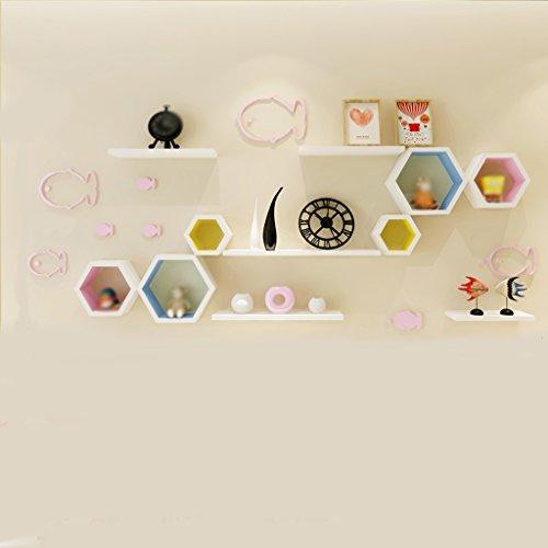 Étagère murale White Board Creative Lattice et stickers de mur rose de poisson.
