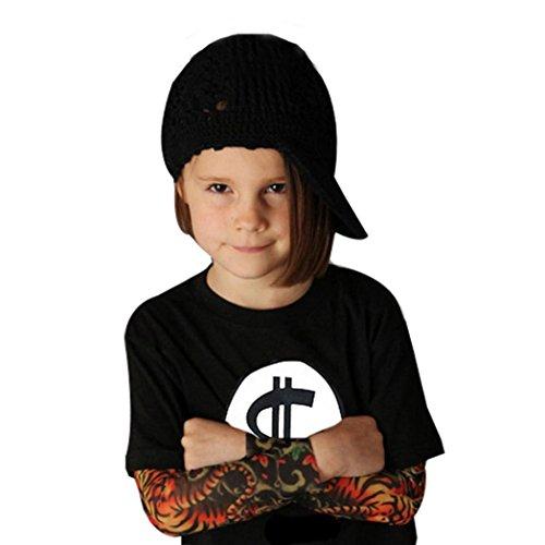 Tops Infant Kolylong 1PC Kids Lange Ärmel Mode Tattoo drucken Sleeve T-Shirt Tops (5T/110, Schwarz1)