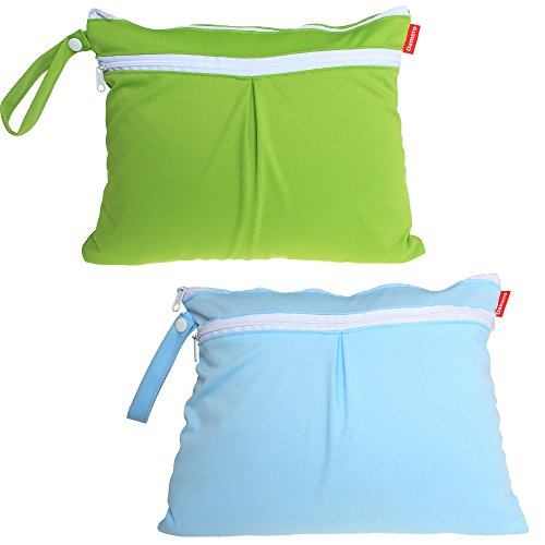 damero-2pcs-pack-cute-travel-baby-wet-and-dry-cloth-diaper-organiser-bag-green-blue