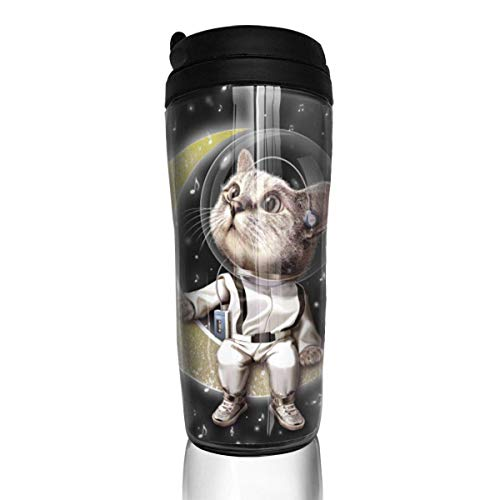 Travel Coffee Mug Space Kitty Sitting On The Moon Water Bottle Environmental Protection Material ABS 12 Oz Spill Proof Flip Lid -