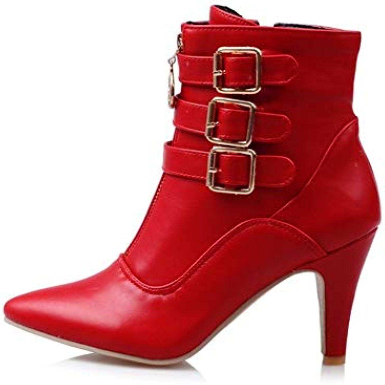 Wushiyan Bottines à Talons Hauts pour Femmes (Color (Color (Color : Red, Size : 36 2/3 EU)B07K24XGDPParent 008477