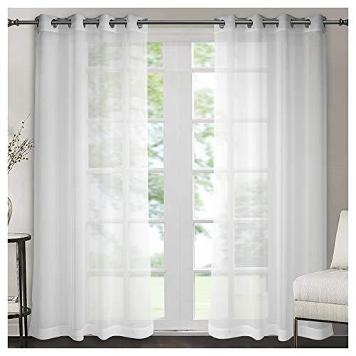 Singinglory tenda trasparente con fermatenda, set da 2 pezzi, in voile bianco con occhielli, sciarpa in cotone aspetto per soggiorno e camera da letto, finestre, decorazione 140 x 245 cm bianco