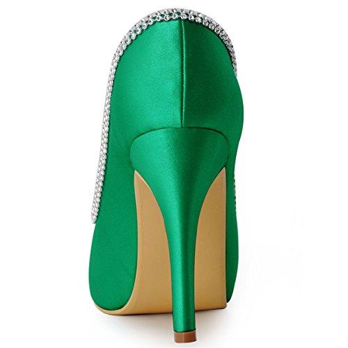 ElegantPark EP11083-IP Escarpins Femme Satin Bout Ouvert Aiguille Plateforme Diamant Chaine Chaussures de mariee Bal Vert