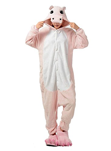 URVIP Neu Unisex Festliche Anzug Flanell Pyjamas Trickfilm Jumpsuit Tier Cartoon Fasching Halloween Kostüm Sleepsuit Party Cosplay Pyjama Schlafanzug Rosa Hippo Medium